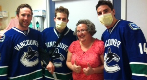 Laughing with Ryan Stanton, Mike Santorelli, and Alex Burrows