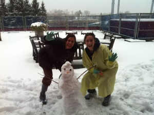 Karen and Kari - busily building a snowman for Ryleigh and for every other child on 3B who had an outside window.